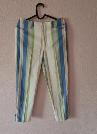 Брюки яркие штаны женские на лето burberry барбери голубые жёлтые