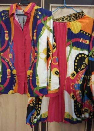 Невероятно стильный яркий костюм с юбкой , люкс качество, стамбул, размер м, последний.