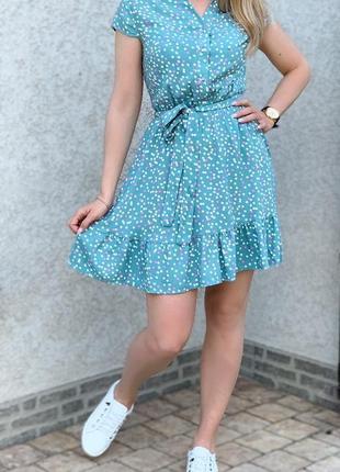 Платье женское выше колена мини в горошек на лето короткое