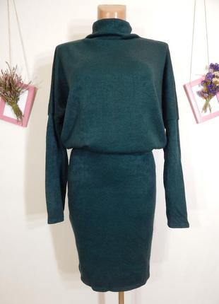 Мягкое теплое платье глубокого изумрудного цвета размер s