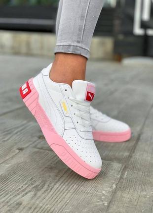 Кроссовки женские puma cali белые с розовым