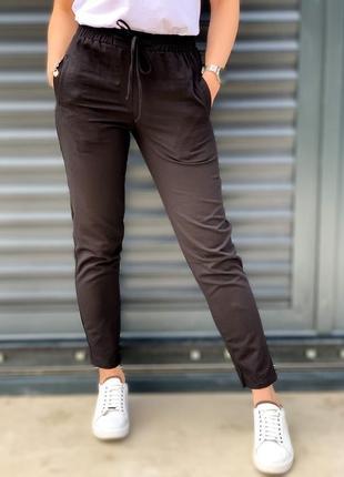Штаны брюки женские легкие летние зауженные на шнурках лён