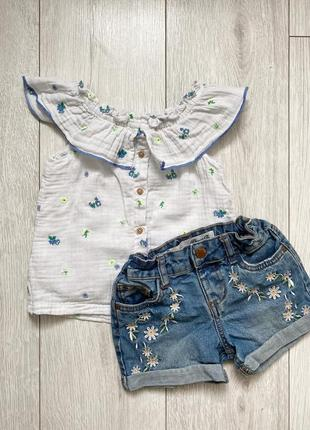 Блуза и шорты на девочку 3-5 лет