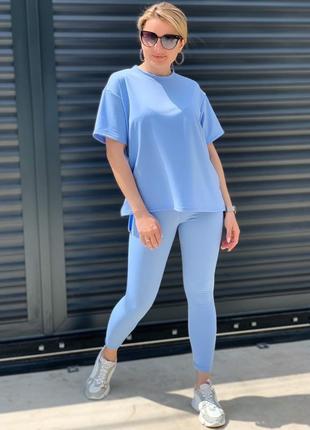 Костюм женский с футболкой с лосинами летний легкий батал норма