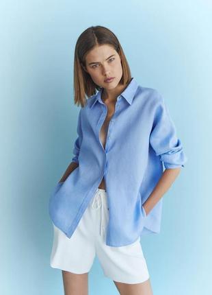 Однотонная рубашка голубая из100% льна лен льняная massimo dutti zara mango
