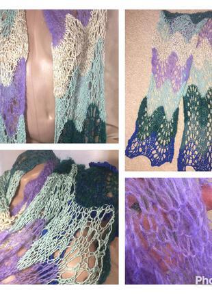 Красивый вязаный ажурный теплый  шарф