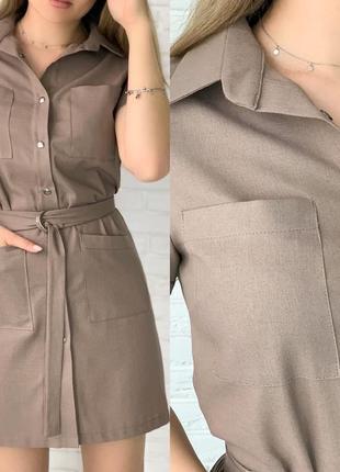 Платье рубашка женское мини короткое с поясом летнее легкое3 фото