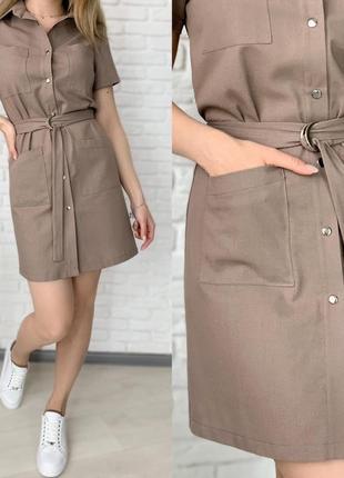 Платье рубашка женское мини короткое с поясом летнее легкое4 фото