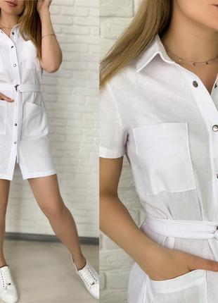 Платье рубашка женское мини короткое с поясом летнее легкое5 фото