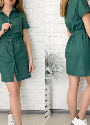 Платье рубашка женское мини короткое с поясом летнее легкое2 фото