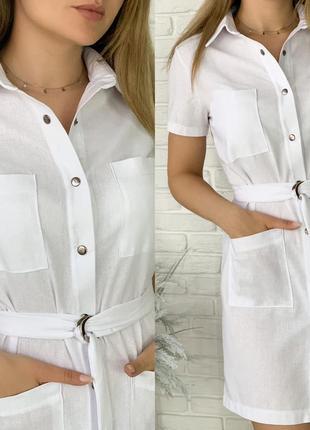 Платье рубашка женское мини короткое с поясом летнее легкое6 фото