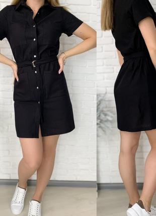 Платье рубашка женское мини короткое с поясом летнее легкое7 фото