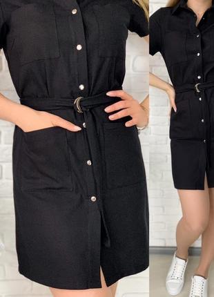Платье рубашка женское мини короткое с поясом летнее легкое9 фото