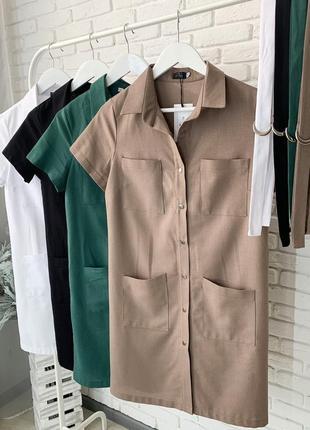 Платье рубашка женское мини короткое с поясом летнее легкое10 фото