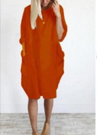 Оранжевое морковное яркое туника платье оверсайз стиль бохо