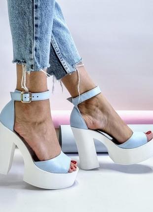 Женские кожаные туфли на высоком каблуке, жіночі шкіряні туфлі на високих підборах