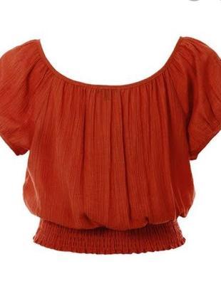 Актуальная блуза топ, футболка, на резинке, открытие плечи, яркая, стильная, модная