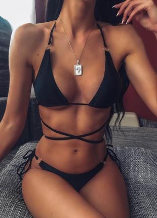 Трендовый купальник завязки бикини кольца  стринги черный