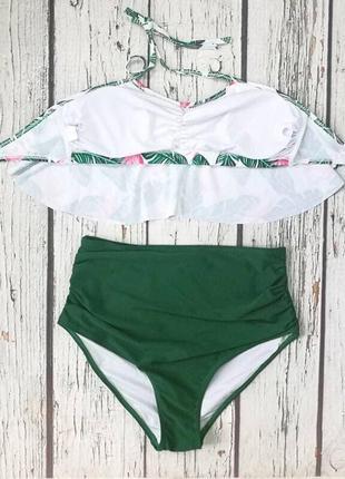 Умопомрачительный купальник, р.s,m,l, белый в принт с зеленым