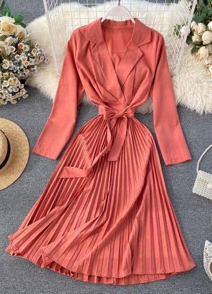 Платье миди розовое на запах с поясом персик шифоновое шифон