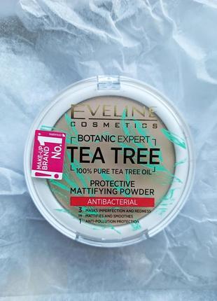 Матирующая антибактериальная пудра для лица eveline botanic expert оттенок 003 light beige
