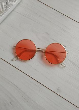Очки солнцезащитные круглые, оранжевые, красные, цаетные линзы