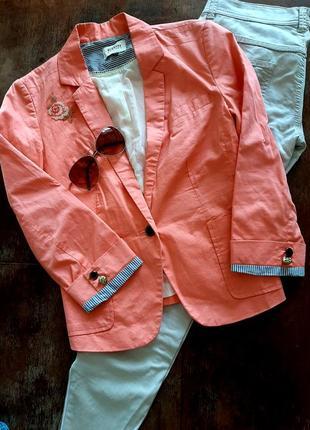 🧡 коттон лето летний костюм штаны/джинсы/джеггинсы молния змейка + укороченный пиджак/жакет рукав 3/4 пуговица