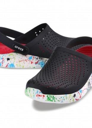 Crocs сабо кроксы literide™ clog black/white (кляксы черно-белые)