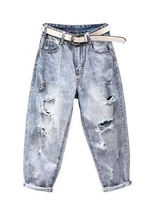 Джинси рвані джинсы рвание широкие штаны1 фото