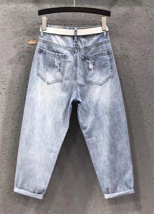 Джинси рвані джинсы рвание широкие штаны2 фото