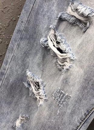 Джинси рвані джинсы рвание широкие штаны3 фото
