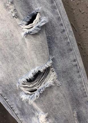 Джинси рвані джинсы рвание широкие штаны4 фото
