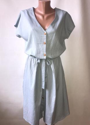 Льняное платье-халат