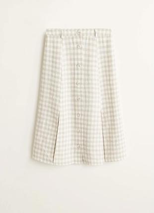Бежевая льняная юбка на пуговицах в клетку mango размер s