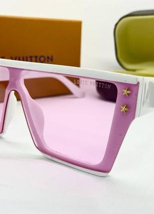 Louis vuitton очки женские солнцезащитные розовая оправа маска с белыми дужками