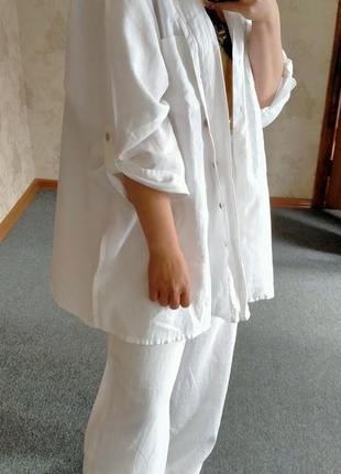 100% лен обалденный летний костюм широкие брюки палаццо и оверсайз рубашка