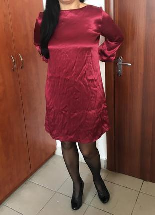Сукня кольору марсала,атласна mango