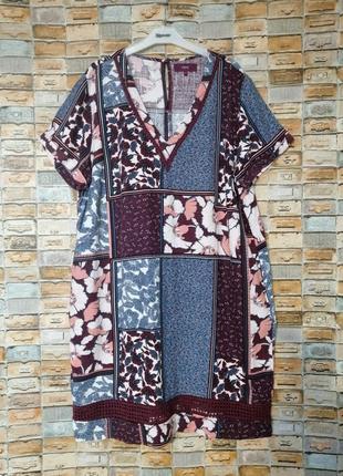 Льняное платье с карманами с принтом пэчворк