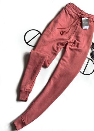 Розовые/ пудровые спортивные штаны на высокой посадке большего розмера / батал