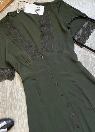 Сукня, платье zara с кружевом