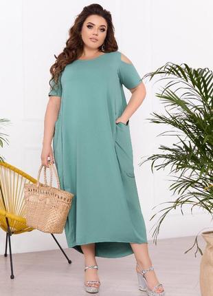 Свободное платье из хлопкового трикотажа, фисташковое, 50-58 бохо