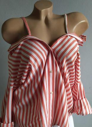 Рубашка со спущенными плечами на бретелях