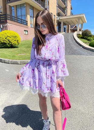 Шикарное летнее платье с кружевами из софта люкс