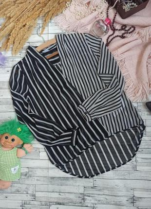 Прозрачная блуза на запах в полоску с длинным рукавом 🍀vero moda