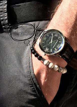 Мужской браслет из натуральных камней агат, кахолонг