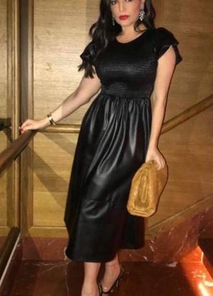 Платье zara, сукня эко кожа