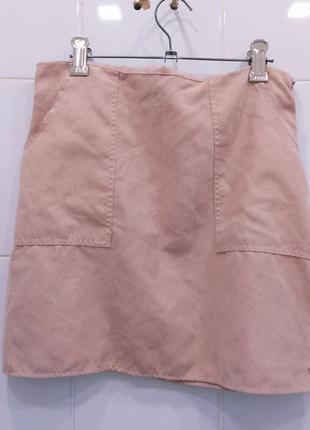 Классная юбка трапеция под замш с карманами