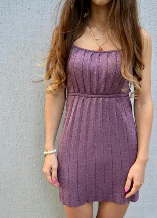 Блестящее мини платье люрекс