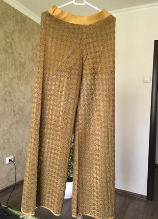 Широкие штаны брюки из сетки zara