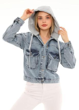 Джинсова куртка з капішоном жіноча 🇹🇷1 фото